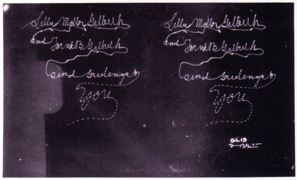 "Lillian and Frank Gilbreth, ""Lillian Moller Gilbreth and and Frank B Gilbreth send Greetings to You."" Stereoscopic chronocylegraph, c. 1914"